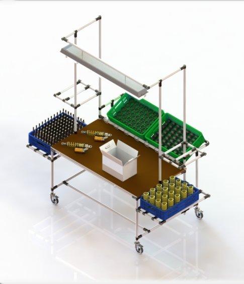 Tavolo Da Lavoro Plastica.Banco Assemblaggio E Spedizione Lean Solution Postazione Ergonomica